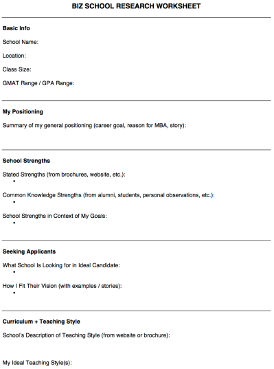 MBA School Research Worksheet 1